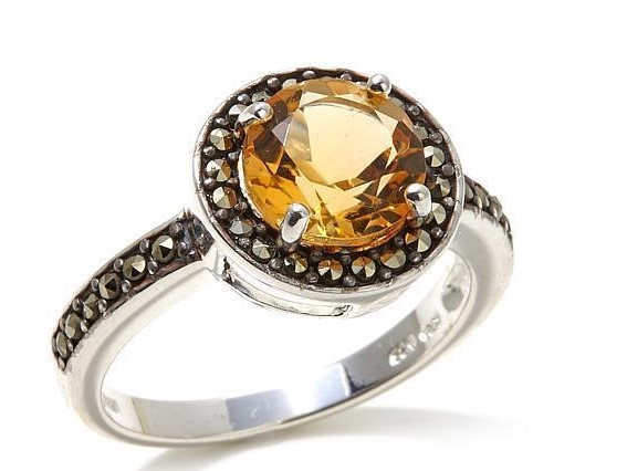 Citrine colored round gemstone silver marcasite ring